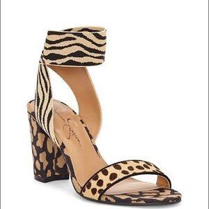 J S Siesto Animal Print Block Heel Dress Sandals